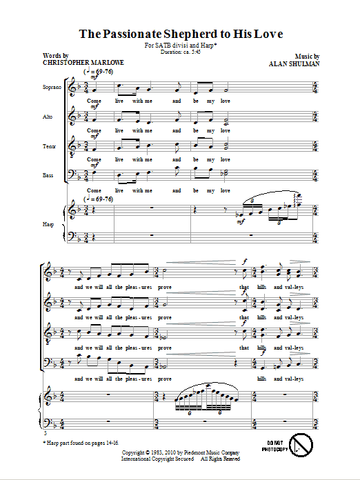 Download Alan Shulman 'The Passionate Shepherd To His Love' Digital Sheet Music Notes & Chords and start playing in minutes