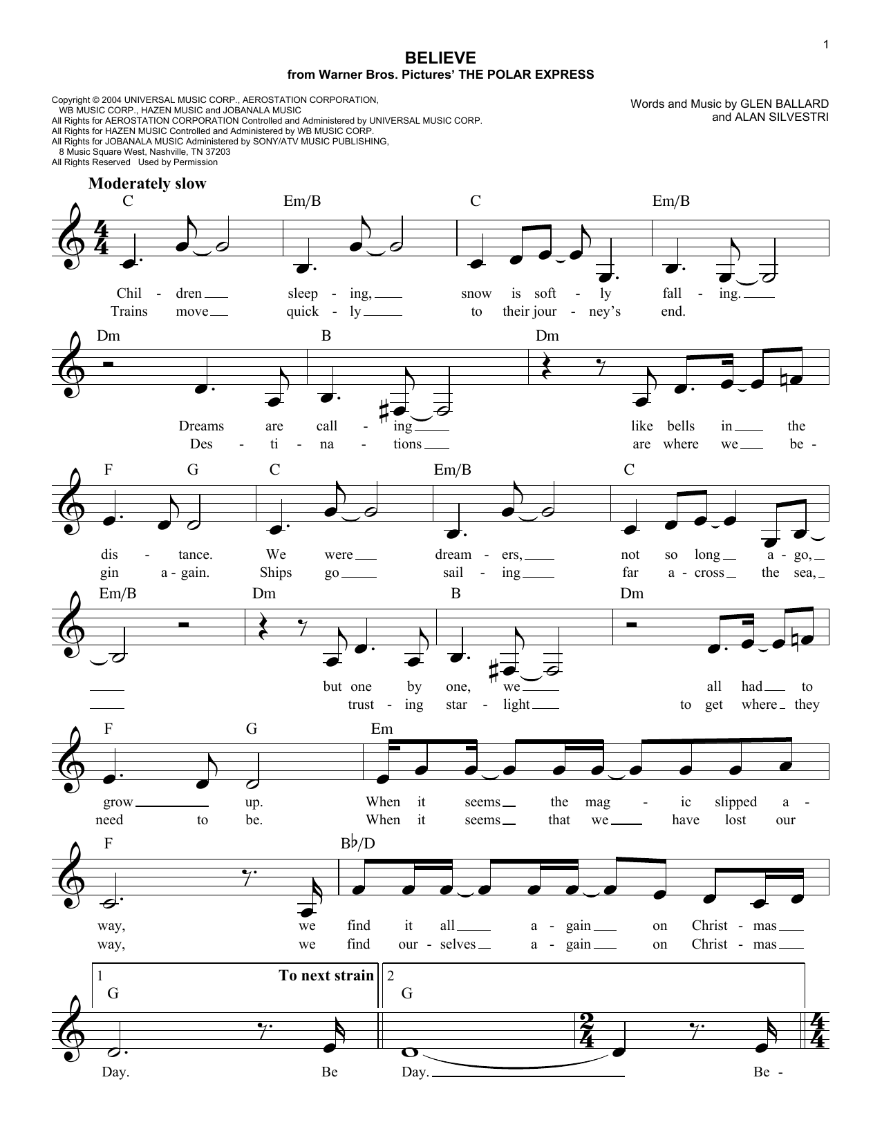 Download Alan Silvestri 'Believe' Digital Sheet Music Notes & Chords and start playing in minutes