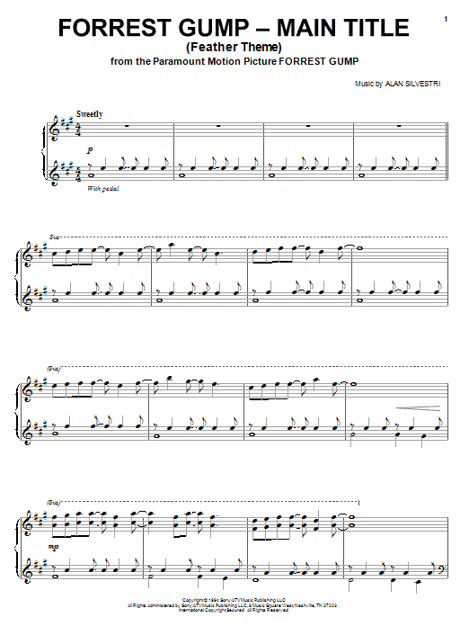 Alan Silvestri Feather Theme (from Forrest Gump) sheet music notes and chords