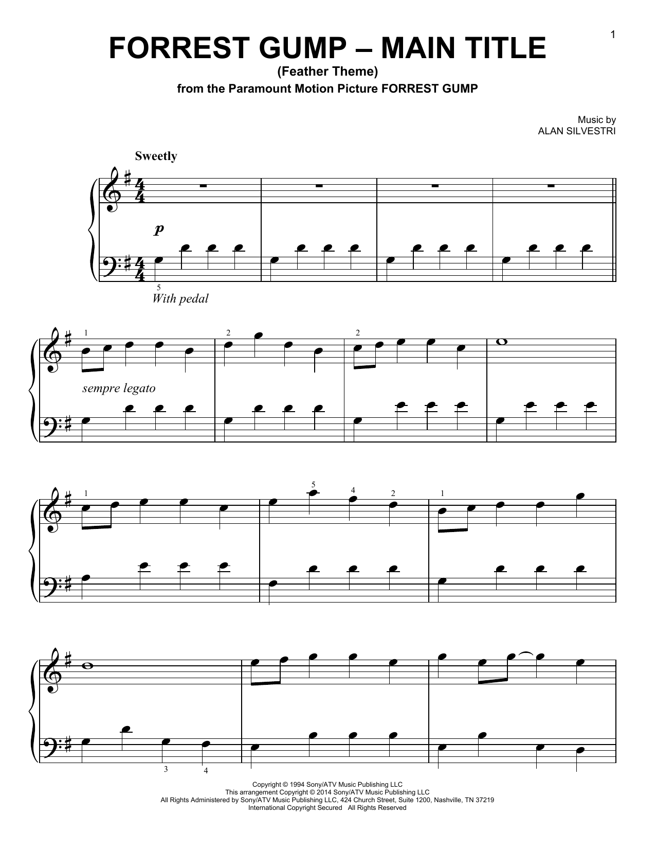 Alan Silvestri Forrest Gump - Main Title (Feather Theme) sheet music preview music notes and score for Easy Guitar Tab including 3 page(s)