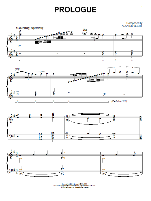 Download Alan Silvestri 'Prologue' Digital Sheet Music Notes & Chords and start playing in minutes