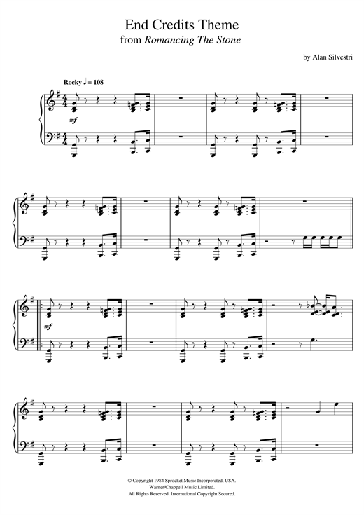 Download Alan Silvestri 'Romancing The Stone (End Credits Theme)' Digital Sheet Music Notes & Chords and start playing in minutes