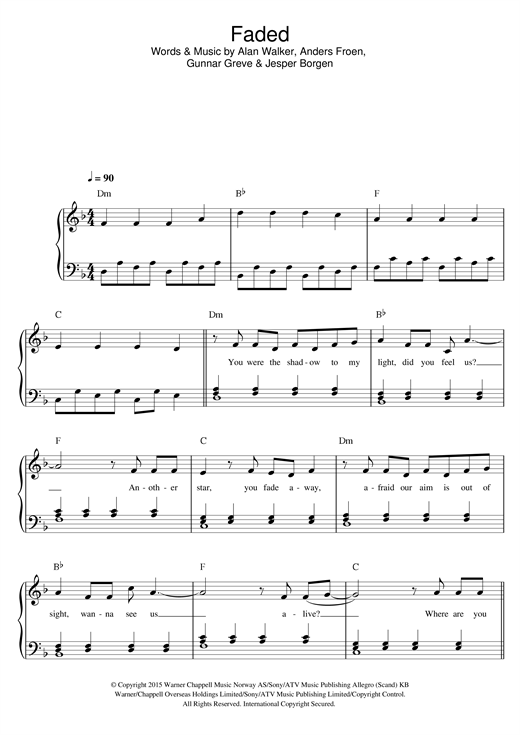 Alan Walker Faded sheet music preview music notes and score for Piano, Vocal & Guitar (Right-Hand Melody) including 6 page(s)