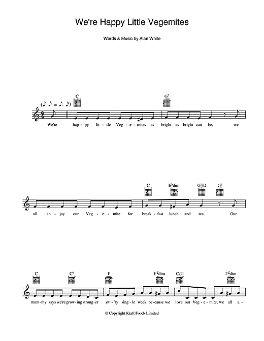 Download Alan White 'We're Happy Little Vegemites' Digital Sheet Music Notes & Chords and start playing in minutes