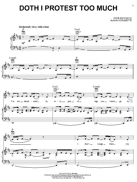 Alanis Morissette Doth I Protest Too Much sheet music notes and chords