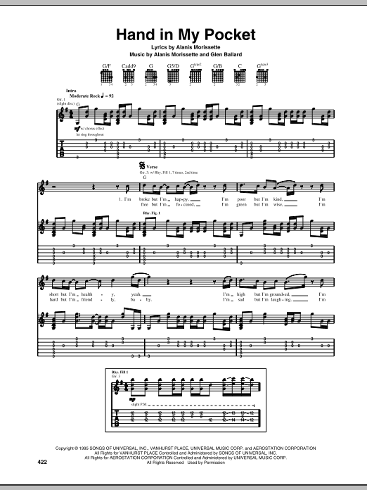 Download Alanis Morissette 'Hand In My Pocket' Digital Sheet Music Notes & Chords and start playing in minutes