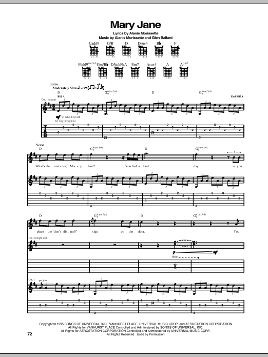 Download Alanis Morissette 'Mary Jane' Digital Sheet Music Notes & Chords and start playing in minutes