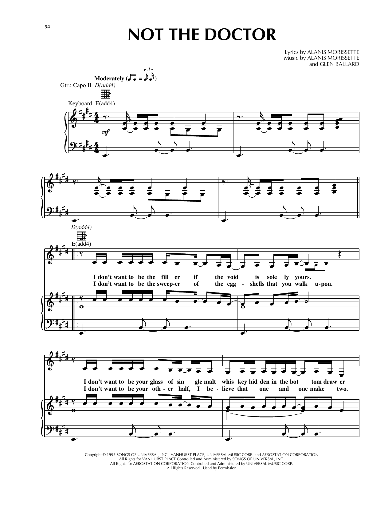 Download Alanis Morissette 'Not The Doctor' Digital Sheet Music Notes & Chords and start playing in minutes