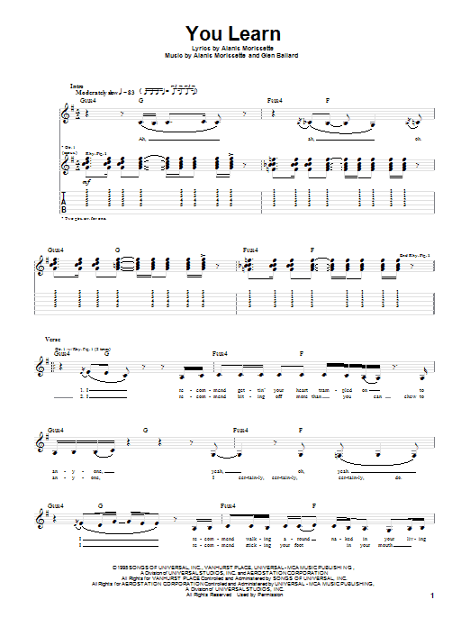 Alanis Morissette You Learn sheet music preview music notes and score for Guitar Tab including 5 page(s)
