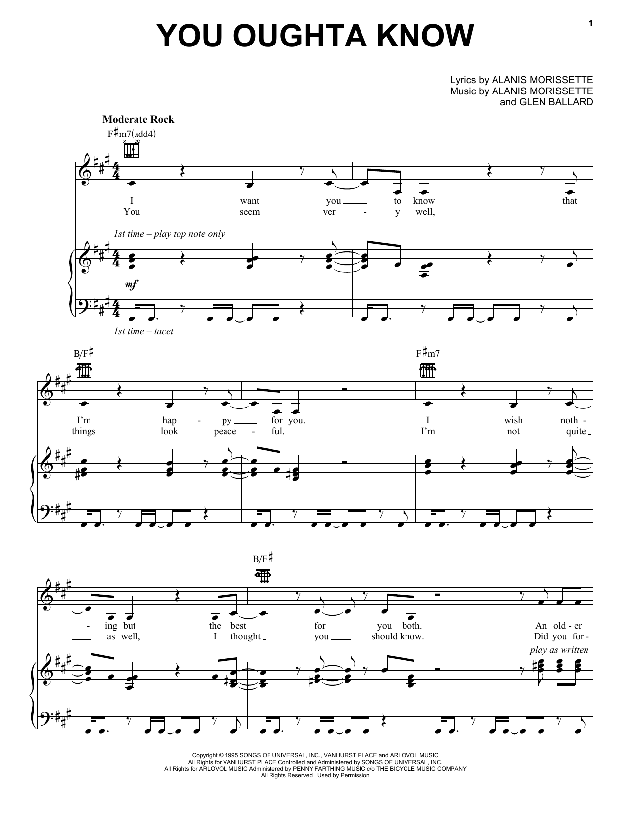 Download Alanis Morissette 'You Oughta Know' Digital Sheet Music Notes & Chords and start playing in minutes
