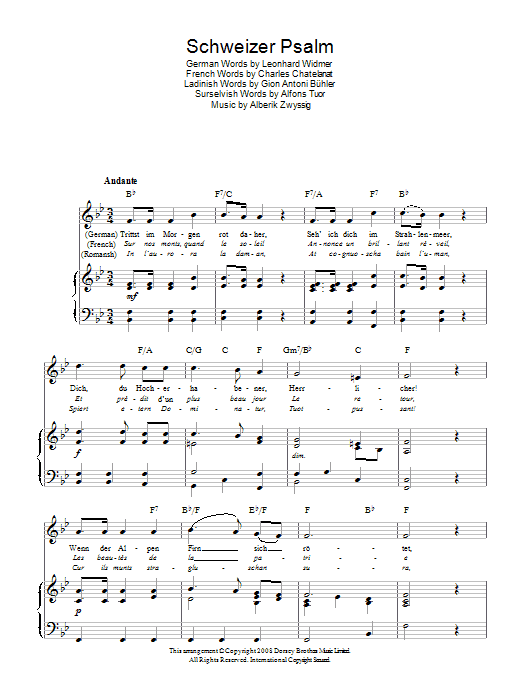 Alberik Zwyssig Schweizer Psalm (Swiss National Anthem) sheet music preview music notes and score for Piano, Vocal & Guitar (Right-Hand Melody) including 2 page(s)