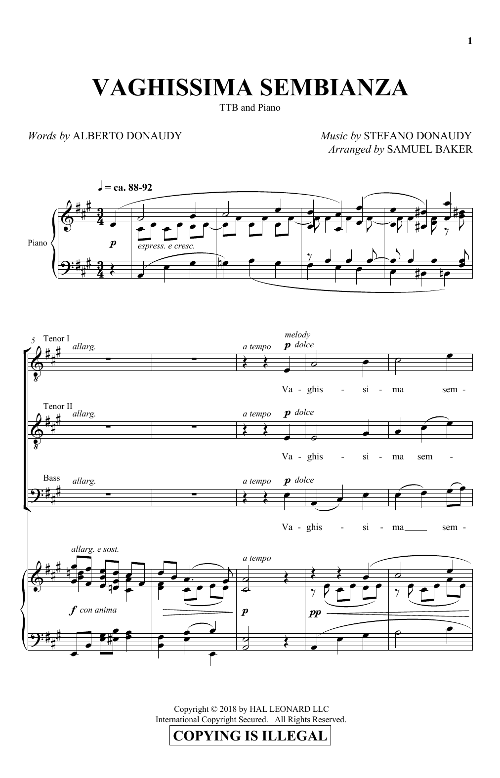 Download Albert Donaudy & Stefano Donaudy 'Vaghissima Sembianza (arr. Samuel Baker)' Digital Sheet Music Notes & Chords and start playing in minutes