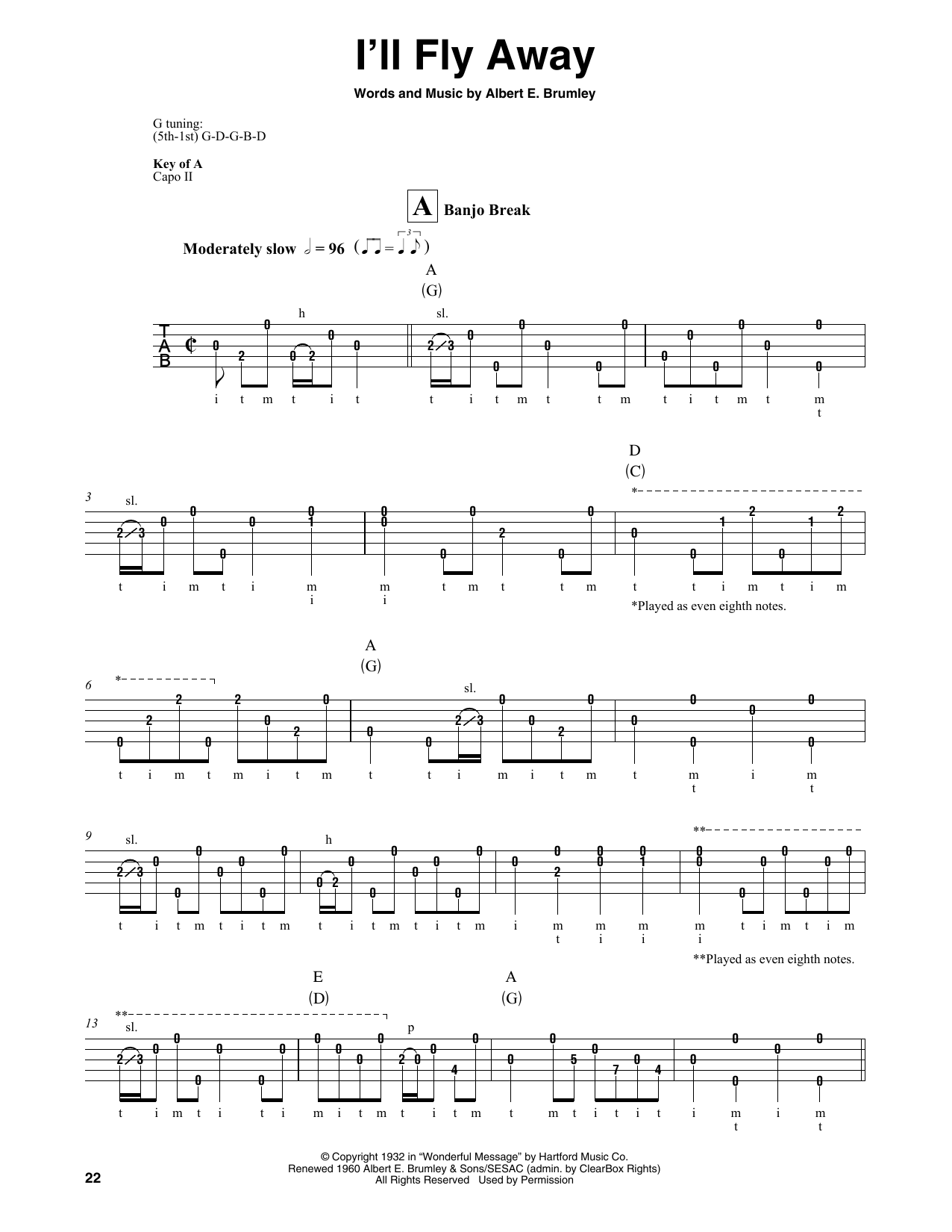 Download Albert E. Brumley 'I'll Fly Away' Digital Sheet Music Notes & Chords and start playing in minutes