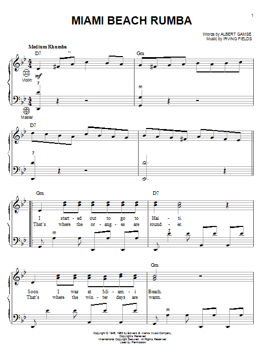 Download Albert Gamse 'Miami Beach Rumba' Digital Sheet Music Notes & Chords and start playing in minutes