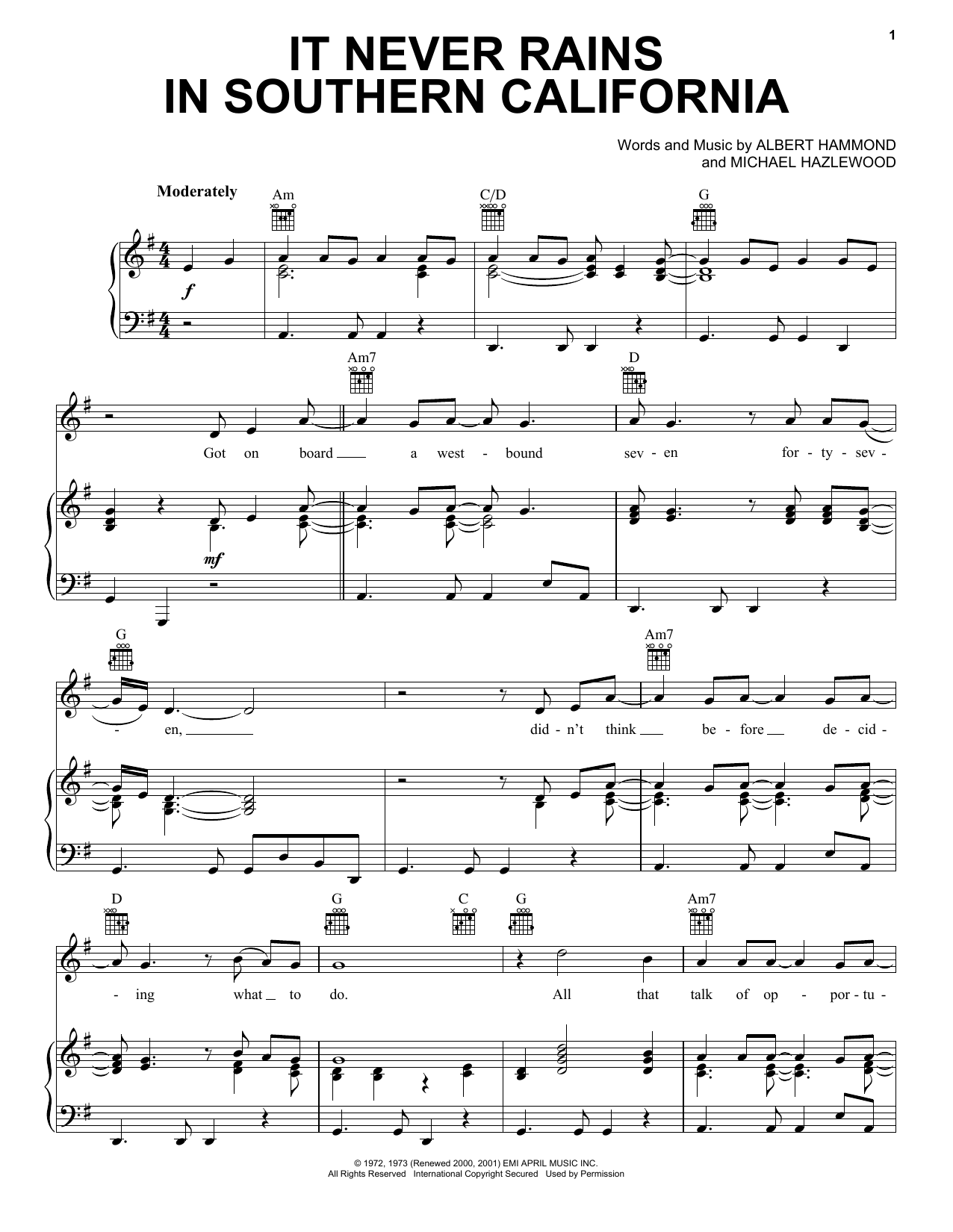 Albert Hammond It Never Rains In Southern California sheet music preview music notes and score for Piano, Vocal & Guitar (Right-Hand Melody) including 5 page(s)