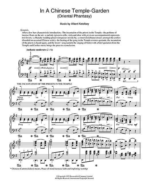 Download Albert Ketelbey 'In A Chinese Temple-Garden (Oriental Phantasy)' Digital Sheet Music Notes & Chords and start playing in minutes