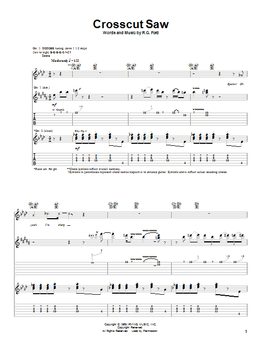 Download Albert King 'Crosscut Saw' Digital Sheet Music Notes & Chords and start playing in minutes