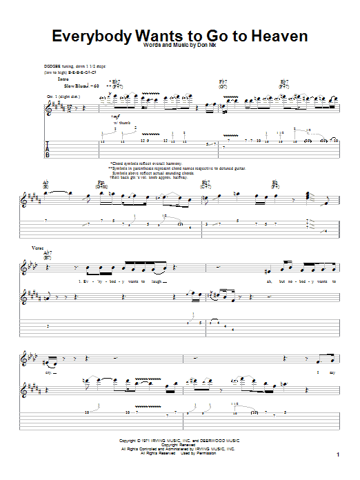 Albert King Everybody Wants To Go To Heaven sheet music notes and chords