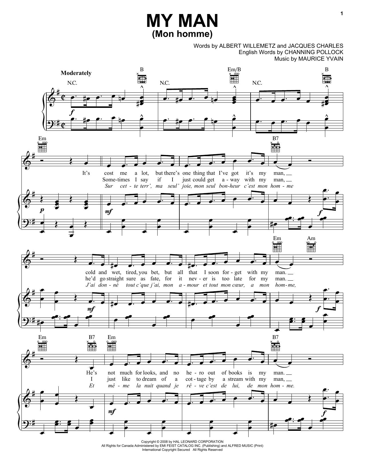 Albert Willemetz My Man (Mon Homme) sheet music notes and chords