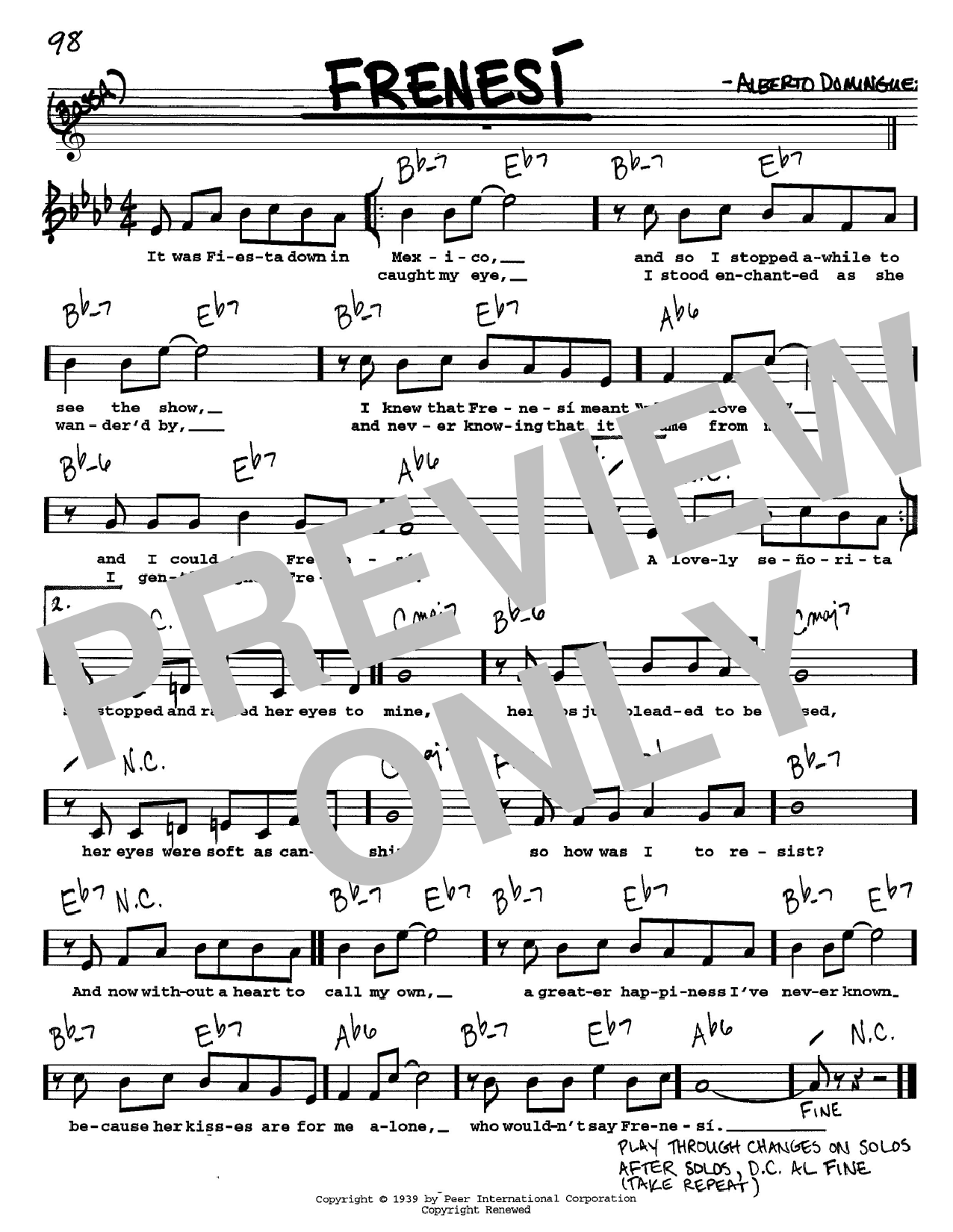 Alberto Dominguez Frenesi sheet music preview music notes and score for Piano including 3 page(s)