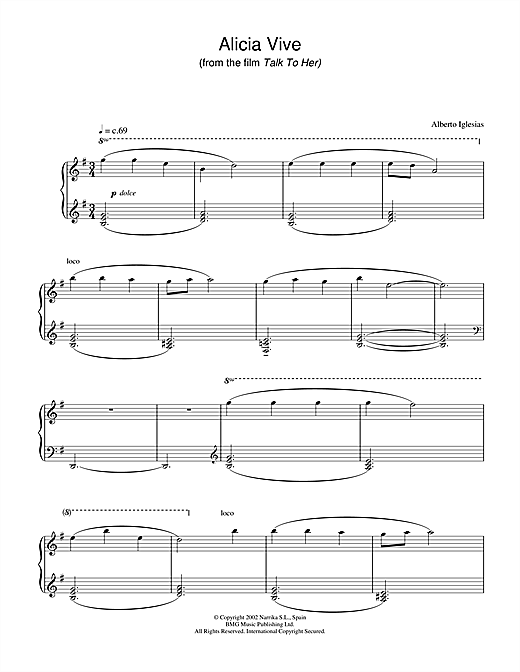 Download Alberto Iglesias 'Alicia Vive (from Talk To Her)' Digital Sheet Music Notes & Chords and start playing in minutes