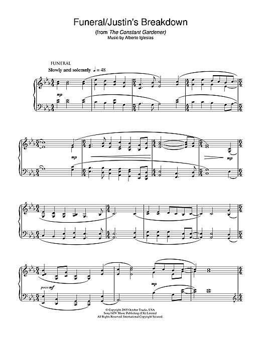 Download Alberto Iglesias 'Funeral/Justin's Breakdown (from The Constant Gardener)' Digital Sheet Music Notes & Chords and start playing in minutes