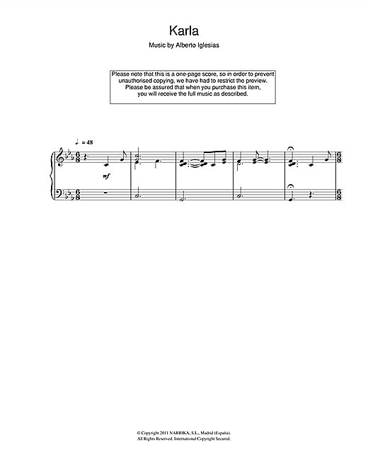 Download Alberto Iglesias 'Karla' Digital Sheet Music Notes & Chords and start playing in minutes