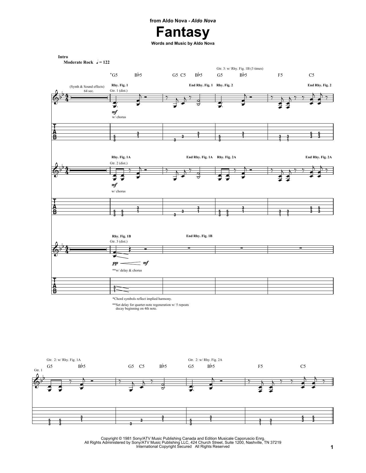 Aldo Nova Fantasy sheet music preview music notes and score for Guitar Tab including 7 page(s)