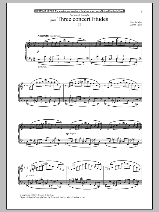 Download Alec Rowley 'Three Concert Etudes, II.' Digital Sheet Music Notes & Chords and start playing in minutes