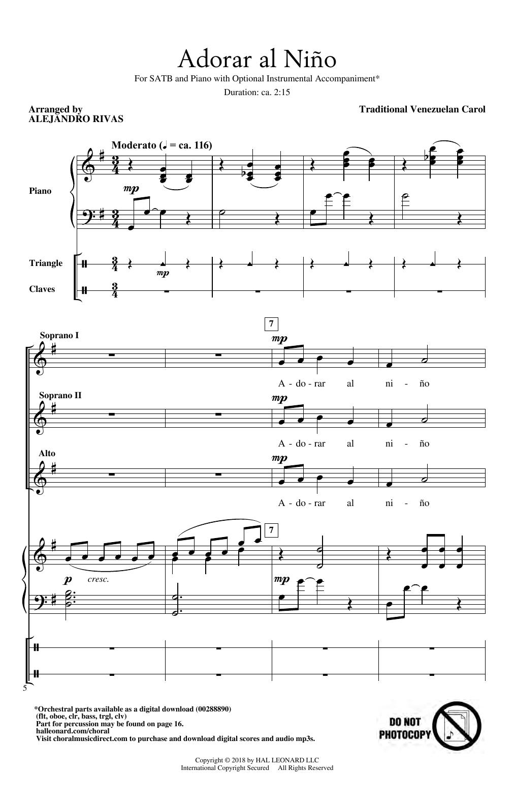 Download Alejandro Rivas 'Adorar Al Nino' Digital Sheet Music Notes & Chords and start playing in minutes