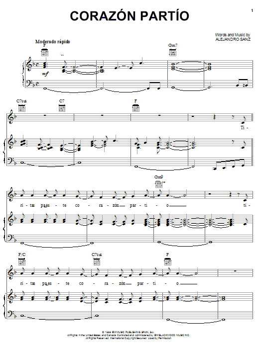 Alejandro Sanz Corazon Partio sheet music notes and chords
