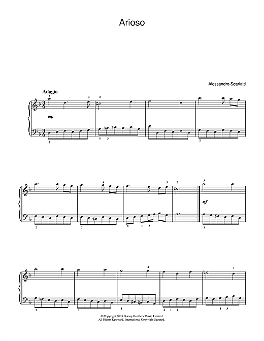 Download Alessandro Scarlatti 'Arioso' Digital Sheet Music Notes & Chords and start playing in minutes