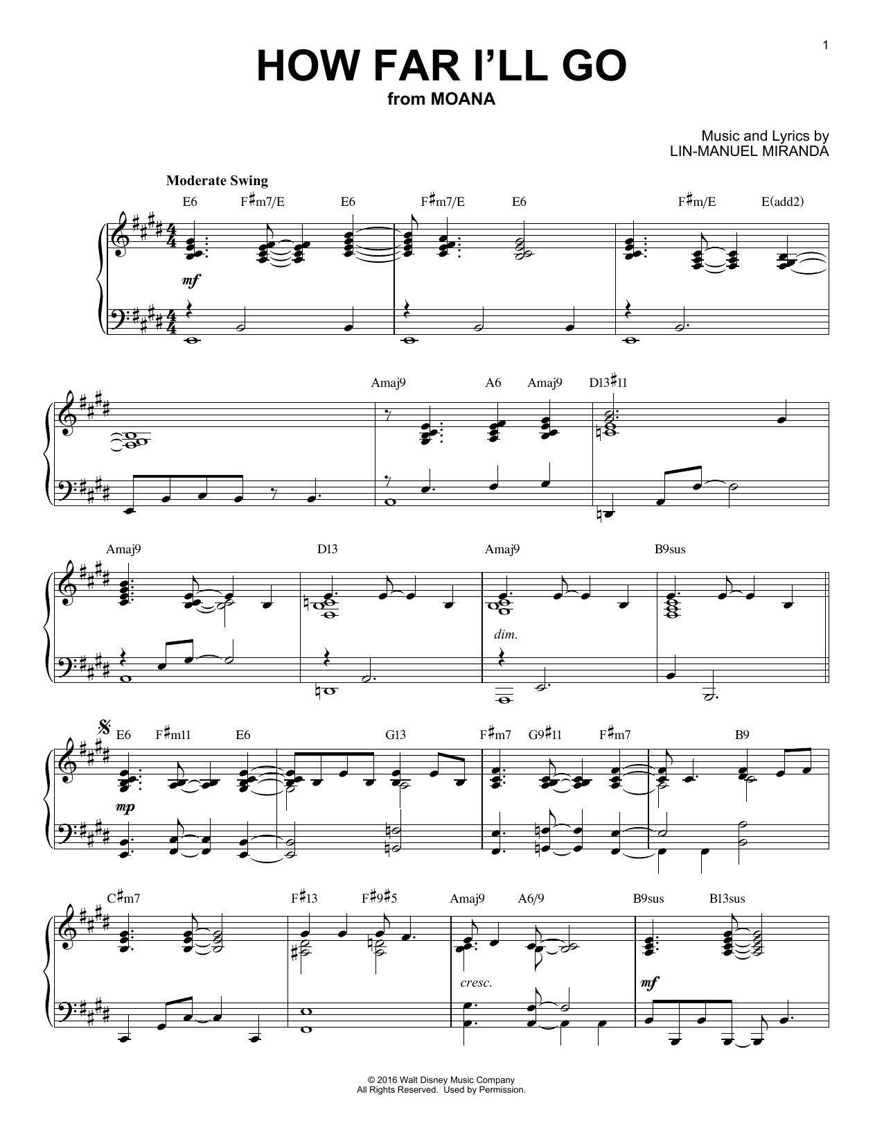 Download Alessia Cara 'How Far I'll Go' Digital Sheet Music Notes & Chords and start playing in minutes