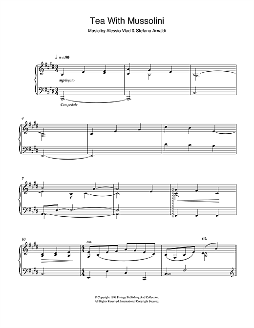 Download Alessio Vlad and Stefano Arnaldi 'Tea With Mussolini (Ladies)' Digital Sheet Music Notes & Chords and start playing in minutes