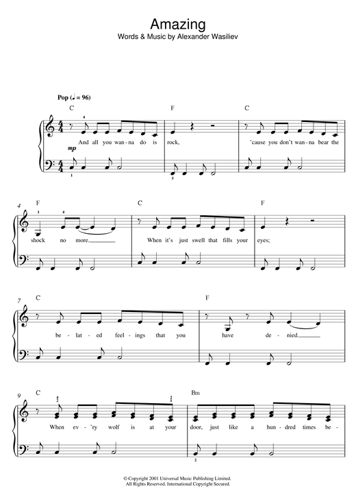 Download Alex Lloyd 'Amazing' Digital Sheet Music Notes & Chords and start playing in minutes
