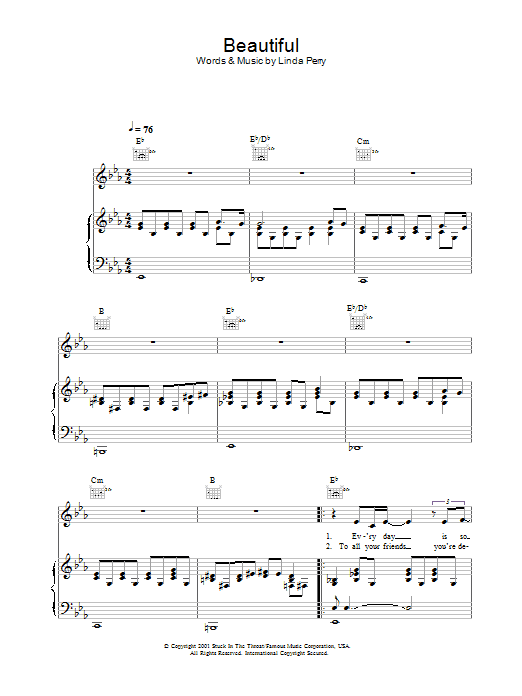 Alex Parks Beautiful sheet music preview music notes and score for Melody Line, Lyrics & Chords including 2 page(s)