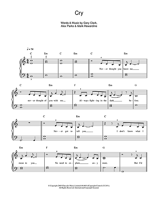 Alex Parks Cry sheet music notes and chords