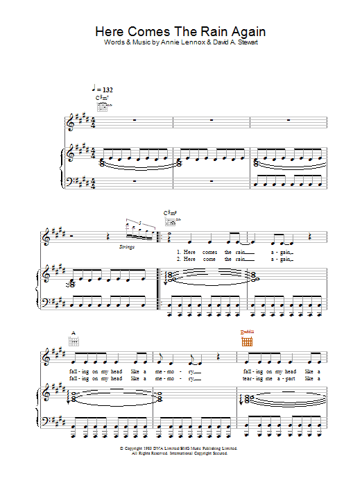 Alex Parks Here Comes The Rain Again sheet music preview music notes and score for Piano, Vocal & Guitar including 4 page(s)