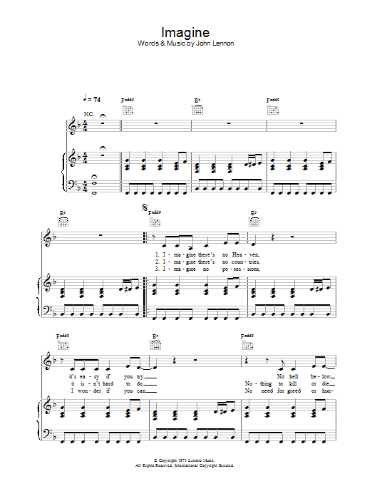 Alex Parks Imagine sheet music preview music notes and score for Piano, Vocal & Guitar including 3 page(s)
