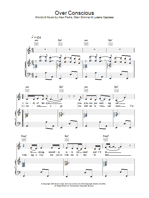 Alex Parks Over Conscious sheet music preview music notes and score for Piano, Vocal & Guitar including 4 page(s)
