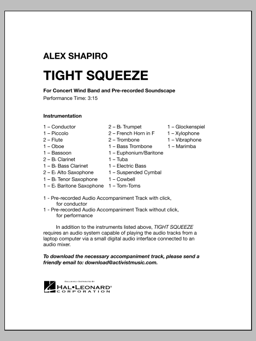 Download Alex Shapiro 'Tight Squeeze - Full Score' Digital Sheet Music Notes & Chords and start playing in minutes