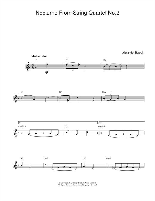 Download Alexander Borodin 'Nocturne From String Quartet No.2' Digital Sheet Music Notes & Chords and start playing in minutes