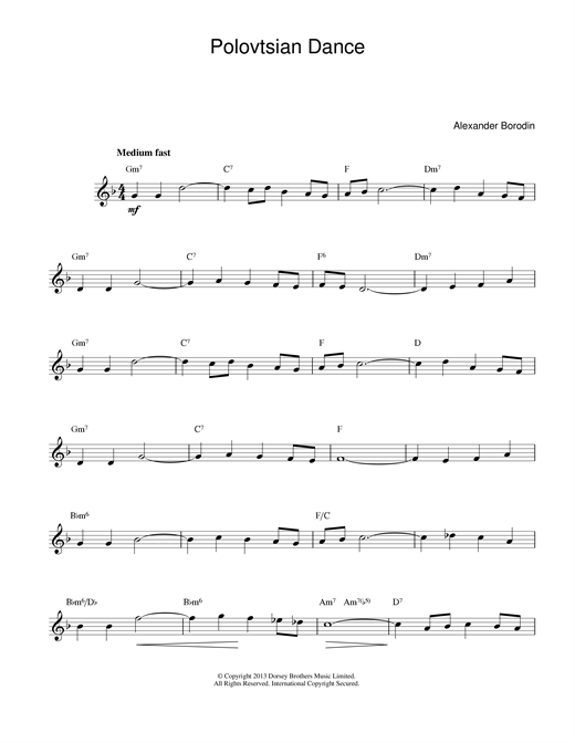 Download Alexander Borodin 'Polovtsian Dance Theme' Digital Sheet Music Notes & Chords and start playing in minutes