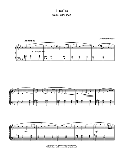 Download Alexander Borodin 'Theme From Prince Igor' Digital Sheet Music Notes & Chords and start playing in minutes