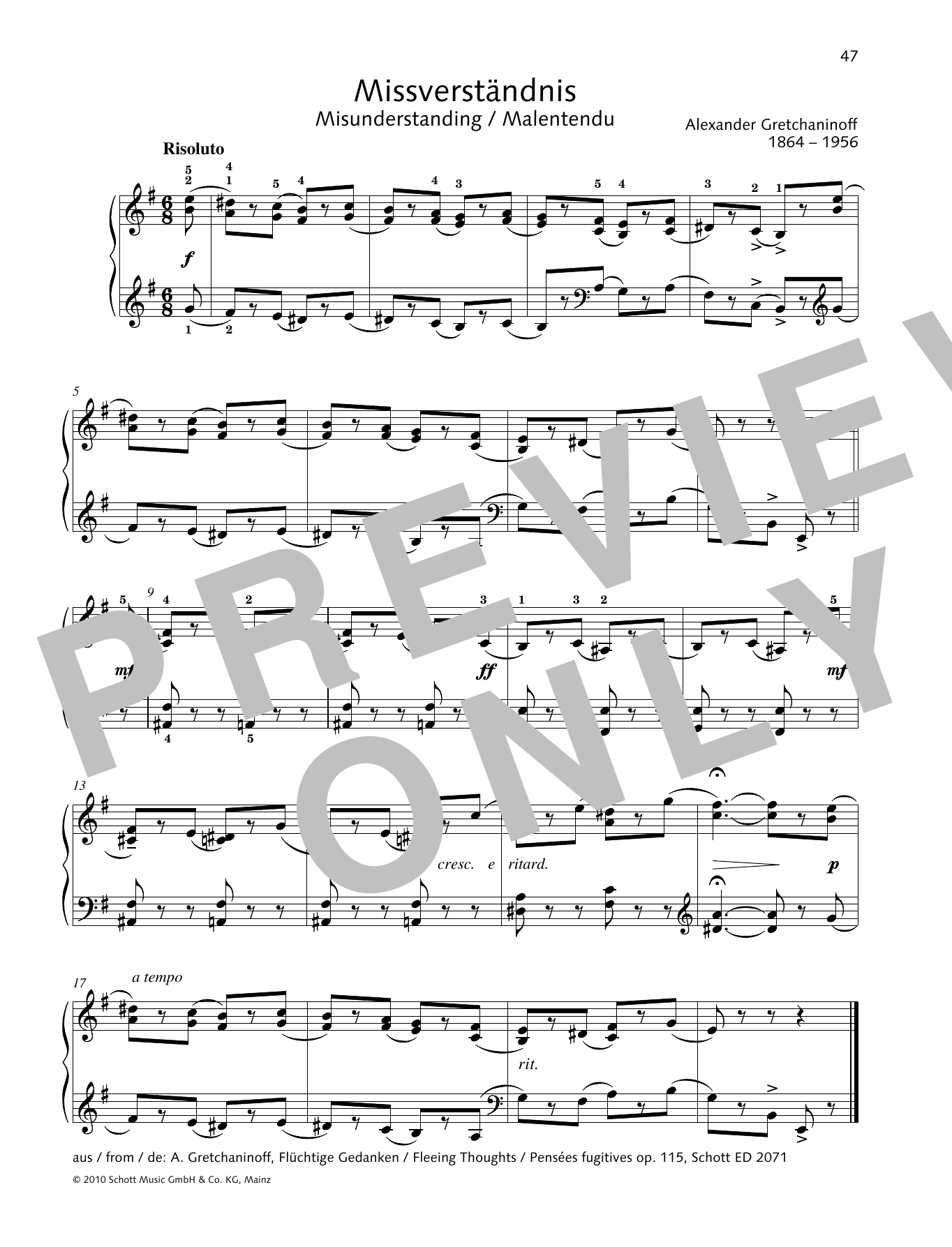 Alexander Gretchaninoff Misunderstanding sheet music preview music notes and score for Piano Solo including 1 page(s)