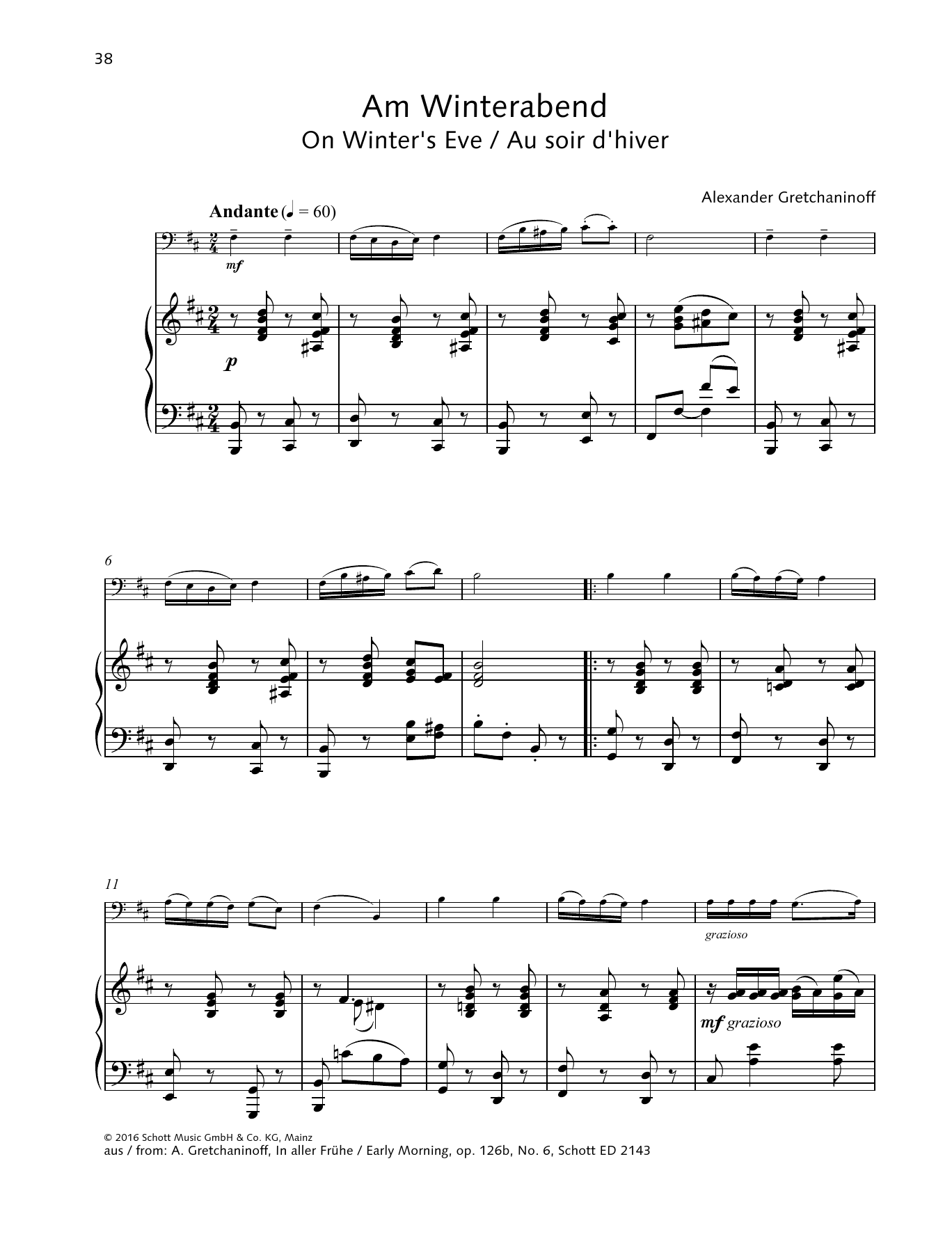 Alexander Gretchaninoff On Winter's Eve sheet music preview music notes and score for String Solo including 3 page(s)