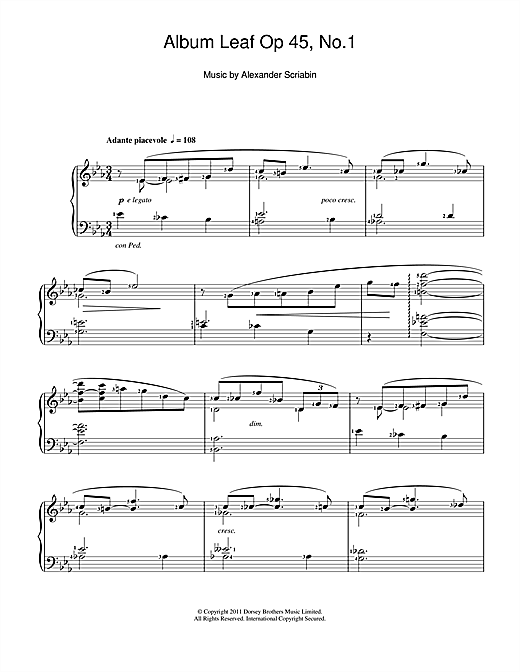 Download Alexander Scriabin 'Album Leaf' Digital Sheet Music Notes & Chords and start playing in minutes