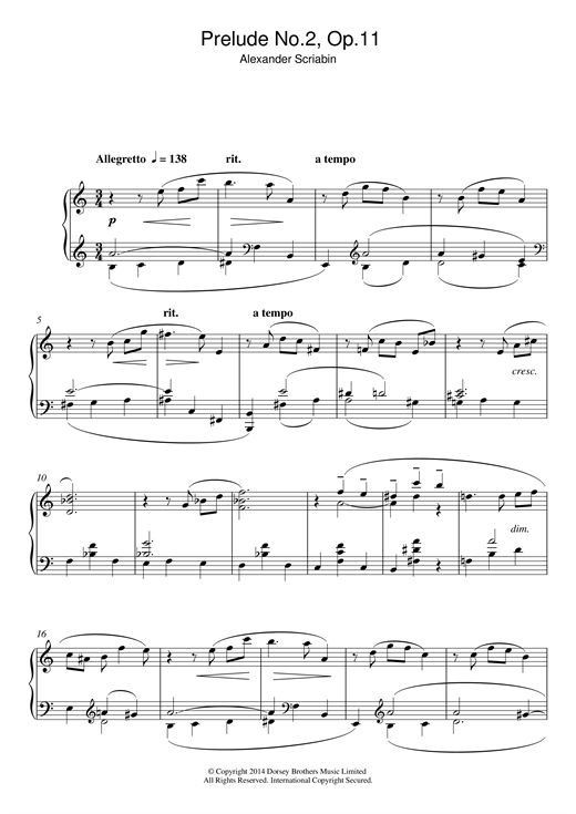Download Alexander Scriabin 'Prelude No.2, Op.11' Digital Sheet Music Notes & Chords and start playing in minutes