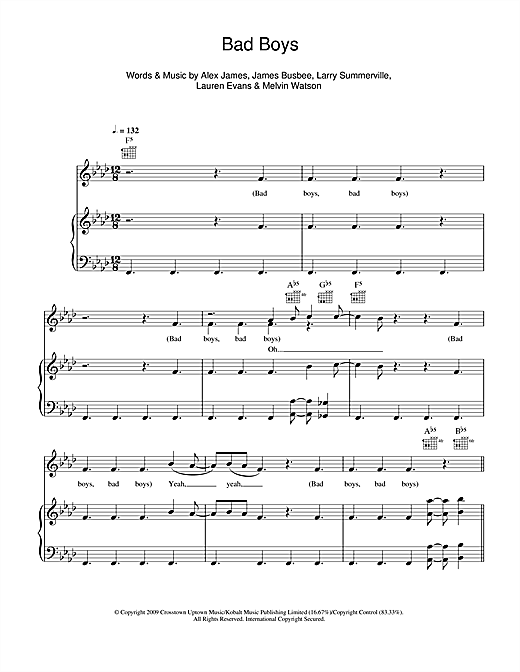 Download Alexandra Burke 'Bad Boys' Digital Sheet Music Notes & Chords and start playing in minutes