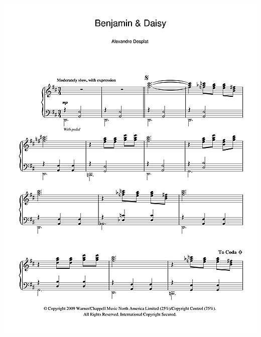Download Alexandre Desplat 'Benjamin And Daisy (from The Curious Case Of Benjamin Button)' Digital Sheet Music Notes & Chords and start playing in minutes